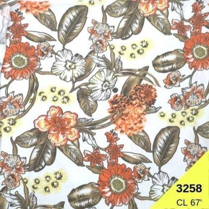 *903258* Lycra Knit: Orange Flower (170cm)